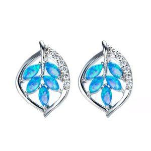 Silver Tone Multicolor Glitter Leaf Earrings